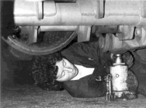 AAUW member changing tires